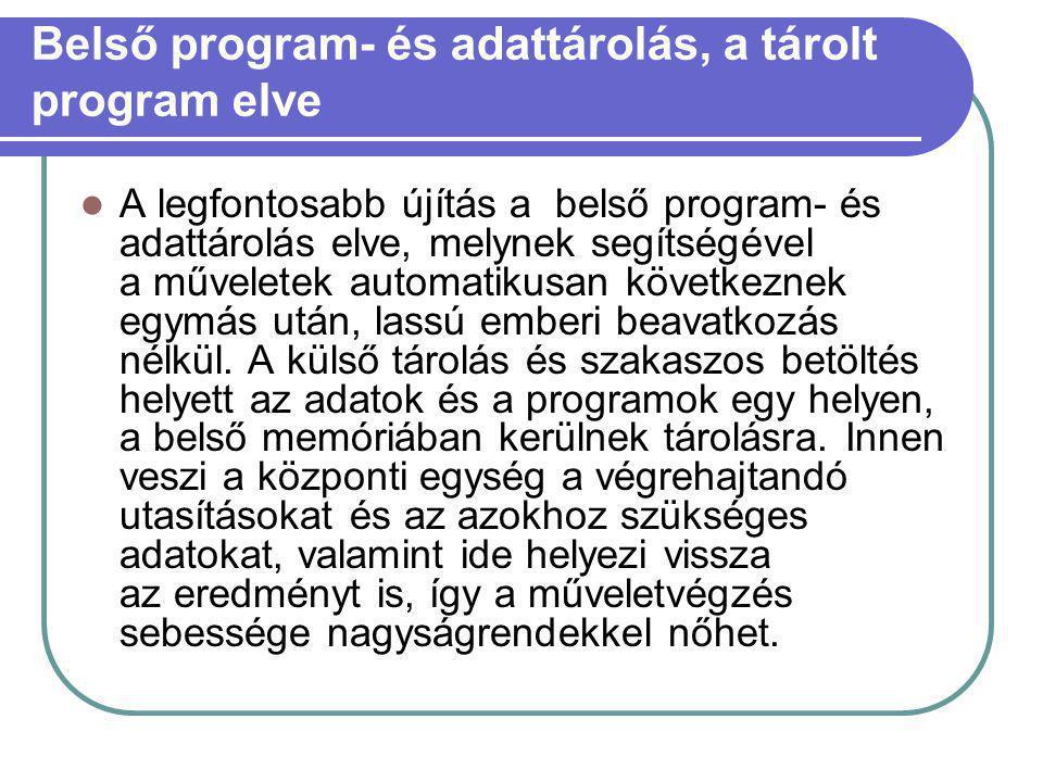 Belső program- és adattárolás, a tárolt program elve