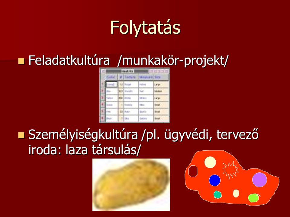 Folytatás Feladatkultúra /munkakör-projekt/