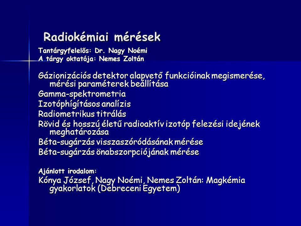 Radiokémiai mérések Tantárgyfelelős: Dr. Nagy Noémi. A tárgy oktatója: Nemes Zoltán.