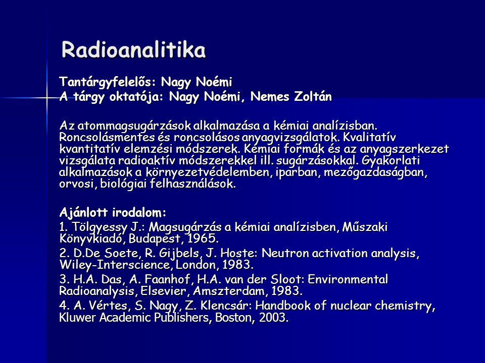 Radioanalitika Tantárgyfelelős: Nagy Noémi