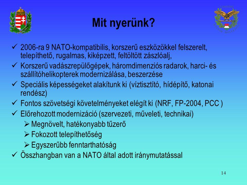 Mit nyerünk 2006-ra 9 NATO-kompatibilis, korszerű eszközökkel felszerelt, telepíthető, rugalmas, kiképzett, feltöltött zászlóalj,
