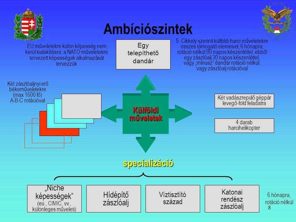 """Ambíciószintek specializáció Külföldi műveletek """"Niche képességek"""
