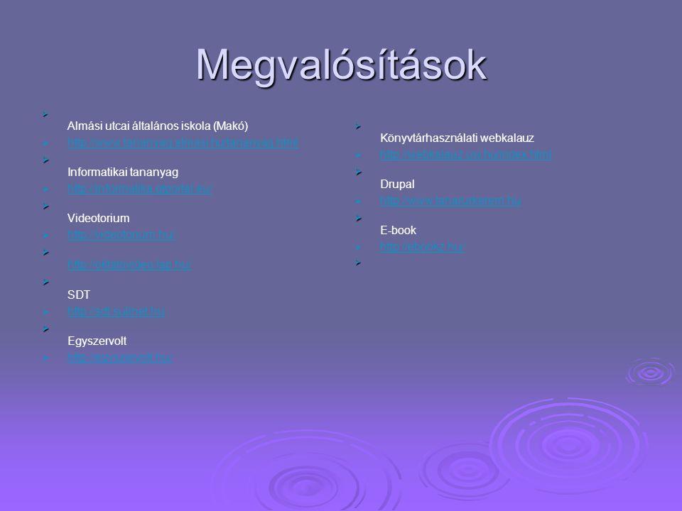 Megvalósítások http://www.tananyag.almasi.hu/tananyag.html