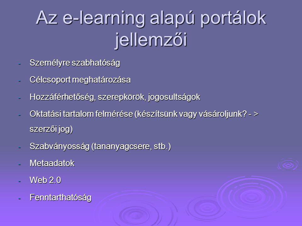 Az e-learning alapú portálok jellemzői