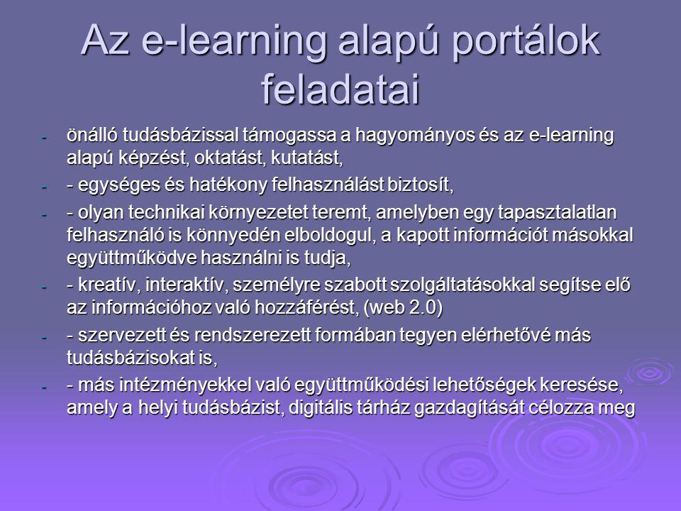 Az e-learning alapú portálok feladatai