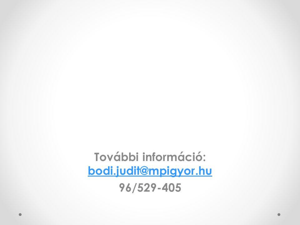 További információ: bodi.judit@mpigyor.hu 96/529-405