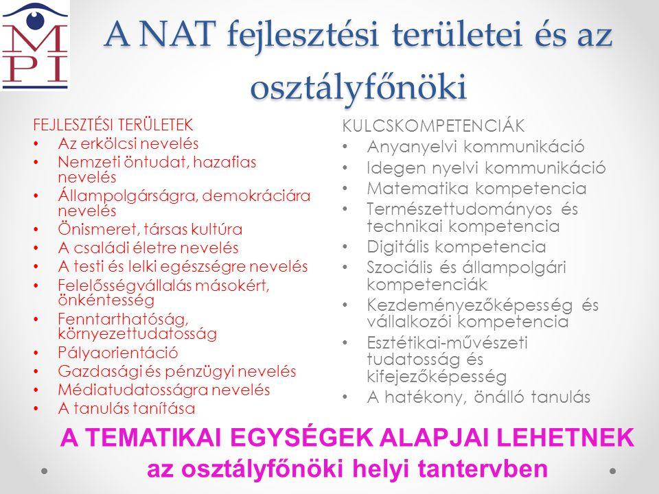 A NAT fejlesztési területei és az osztályfőnöki