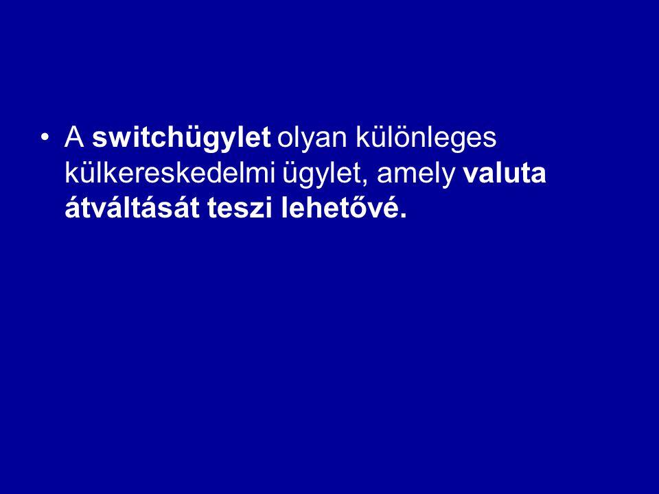 A switchügylet olyan különleges külkereskedelmi ügylet, amely valuta átváltását teszi lehetővé.