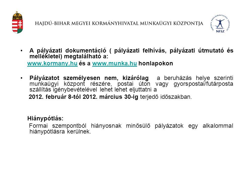 A pályázati dokumentáció ( pályázati felhívás, pályázati útmutató és mellékletei) megtalálható a: