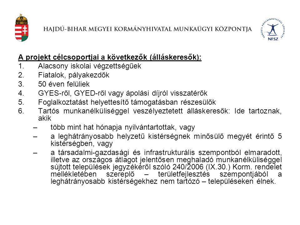A projekt célcsoportjai a következők (álláskeresők):