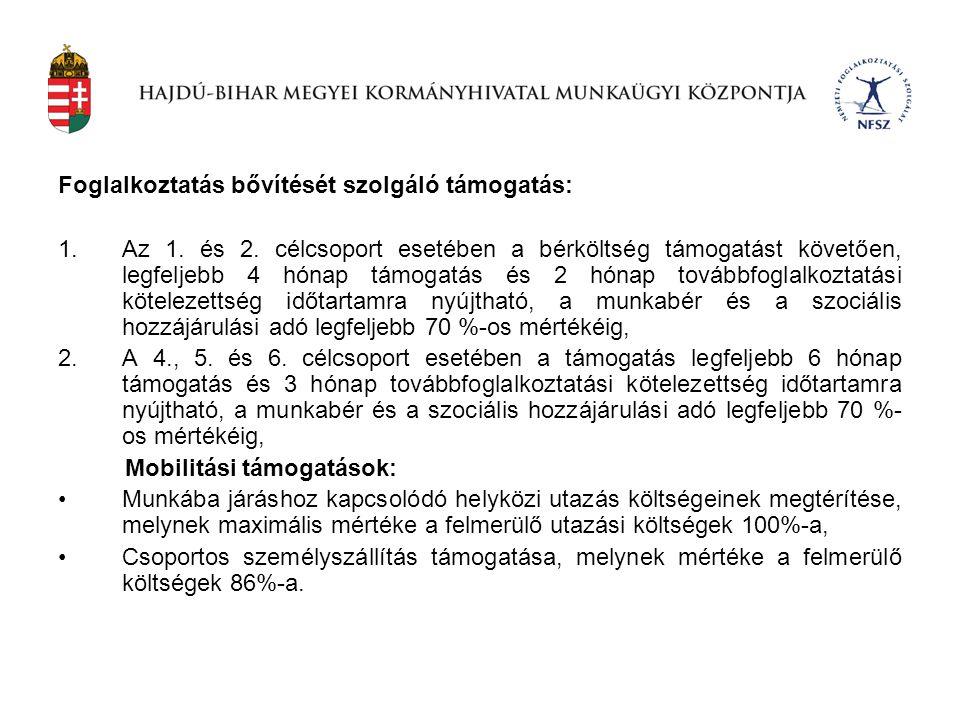 Foglalkoztatás bővítését szolgáló támogatás: