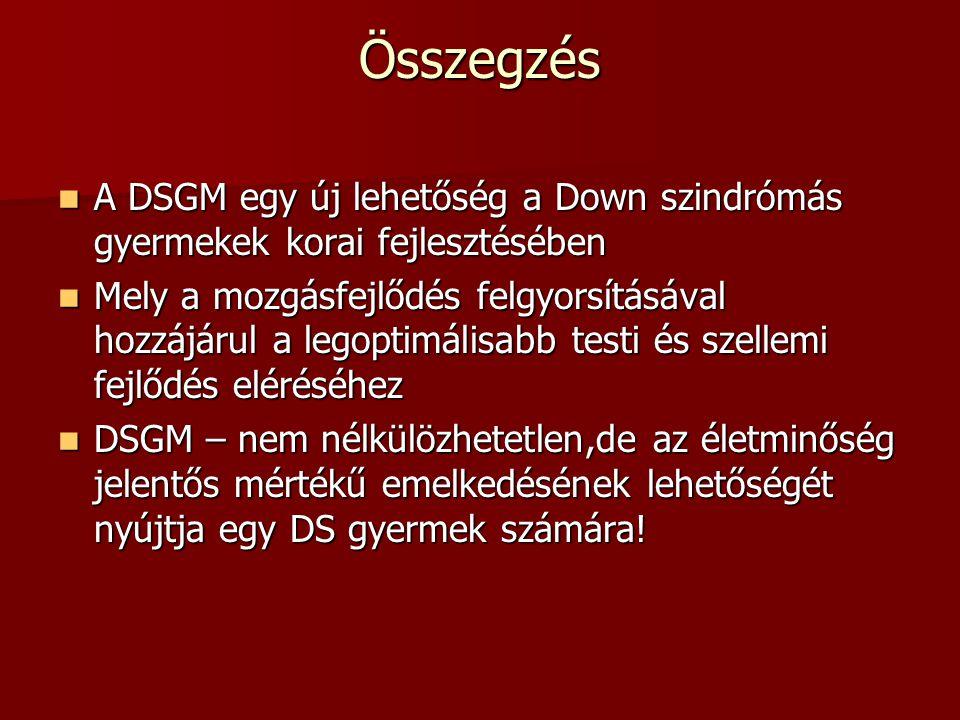 Összegzés A DSGM egy új lehetőség a Down szindrómás gyermekek korai fejlesztésében.