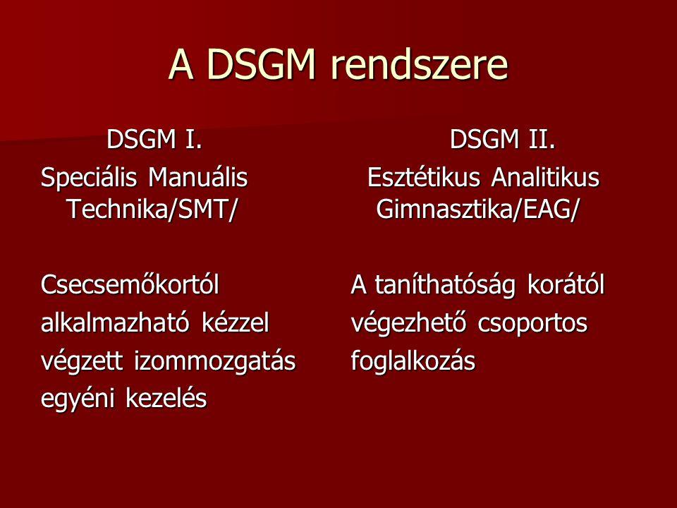 A DSGM rendszere DSGM I. Speciális Manuális Technika/SMT/