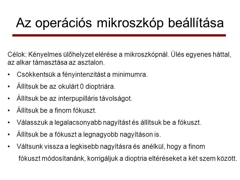 Az operációs mikroszkóp beállítása