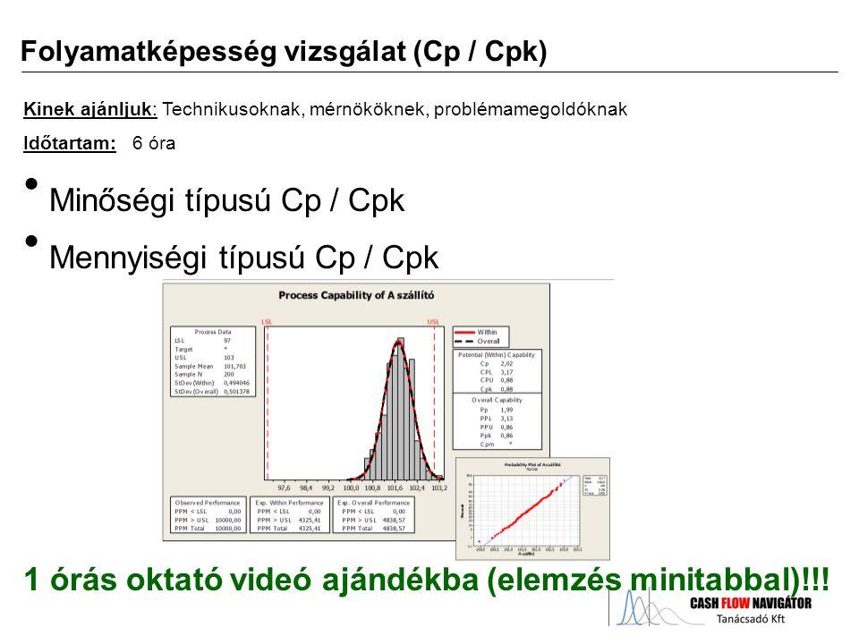 Minőségi típusú Cp / Cpk Mennyiségi típusú Cp / Cpk