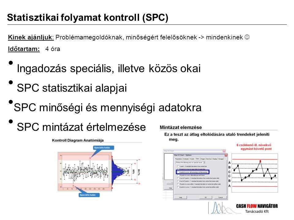 Ingadozás speciális, illetve közös okai SPC statisztikai alapjai