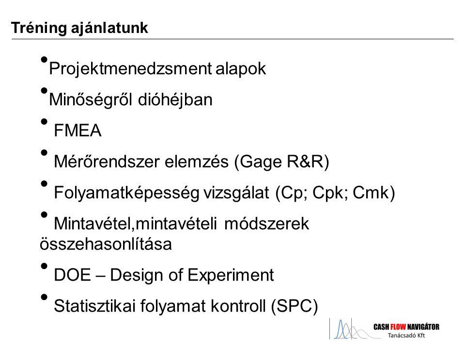 Projektmenedzsment alapok Minőségről dióhéjban FMEA