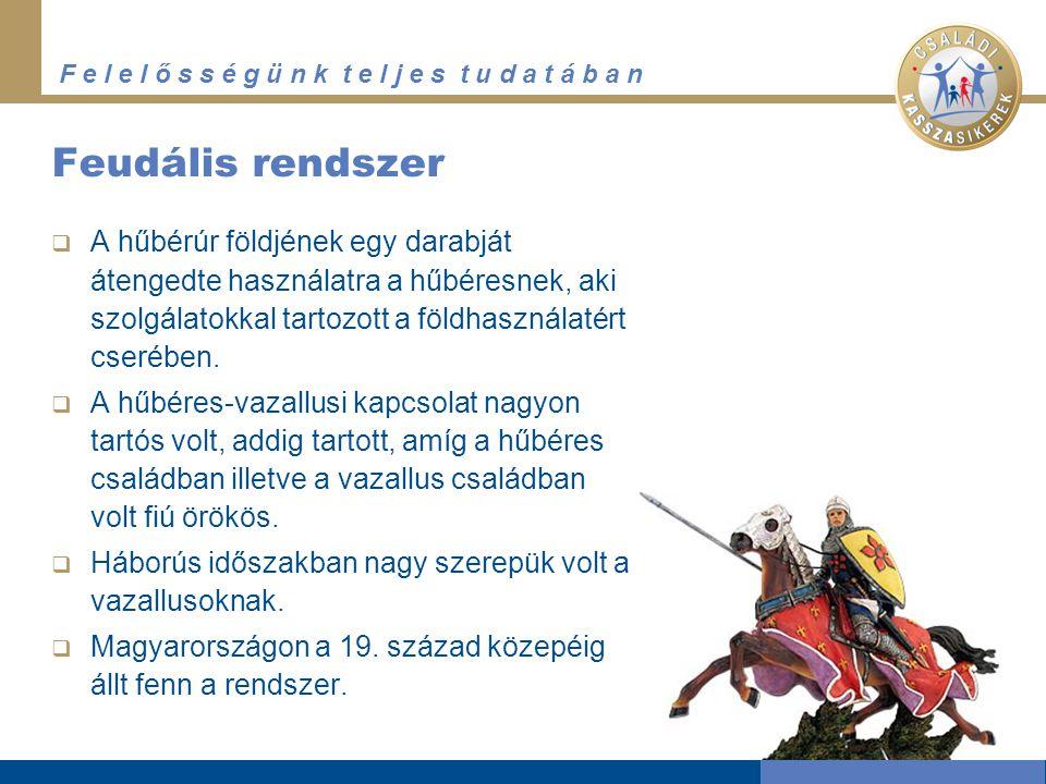Feudális rendszer A hűbérúr földjének egy darabját átengedte használatra a hűbéresnek, aki szolgálatokkal tartozott a földhasználatért cserében.