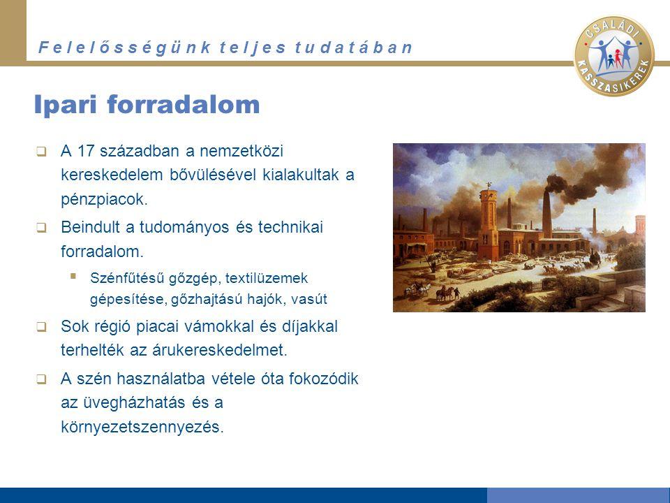 Ipari forradalom A 17 században a nemzetközi kereskedelem bővülésével kialakultak a pénzpiacok. Beindult a tudományos és technikai forradalom.