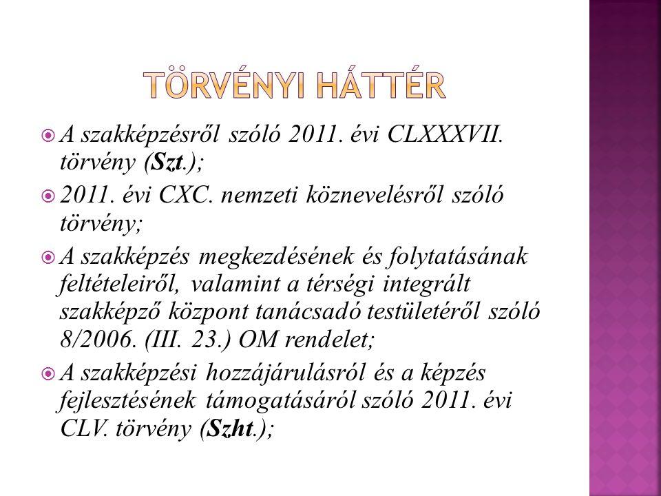 Törvényi háttér A szakképzésről szóló 2011. évi CLXXXVII. törvény (Szt.); 2011. évi CXC. nemzeti köznevelésről szóló törvény;