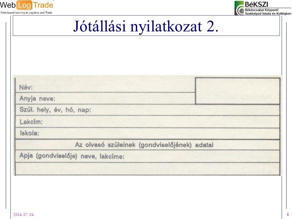 Jótállási nyilatkozat 2.
