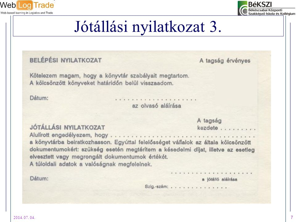 Jótállási nyilatkozat 3.