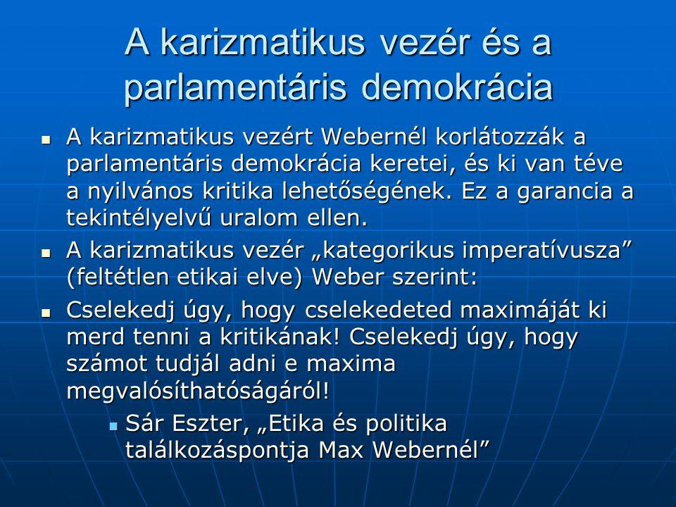 A karizmatikus vezér és a parlamentáris demokrácia