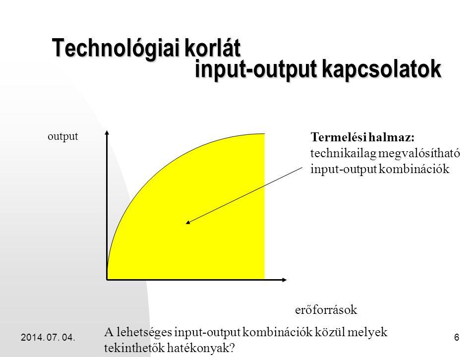 Technológiai korlát input-output kapcsolatok