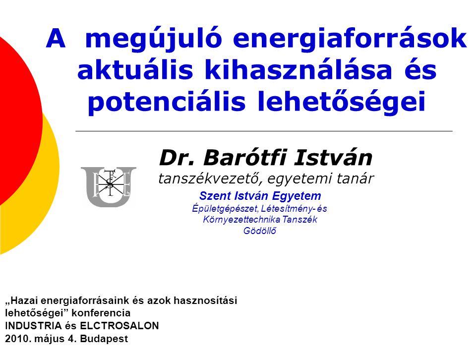 Dr. Barótfi István tanszékvezető, egyetemi tanár