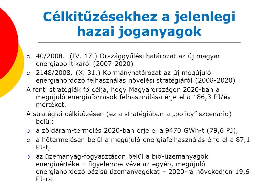 Célkitűzésekhez a jelenlegi hazai joganyagok