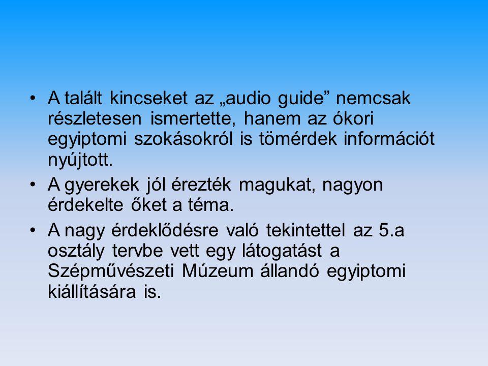 """A talált kincseket az """"audio guide nemcsak részletesen ismertette, hanem az ókori egyiptomi szokásokról is tömérdek információt nyújtott."""