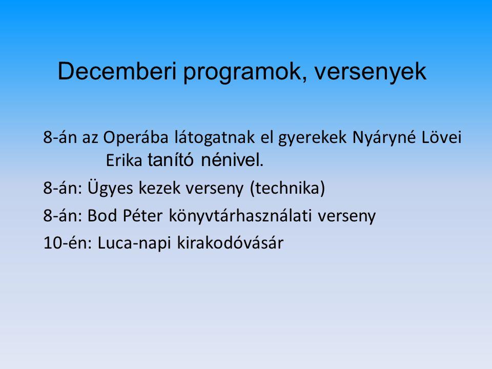 Decemberi programok, versenyek