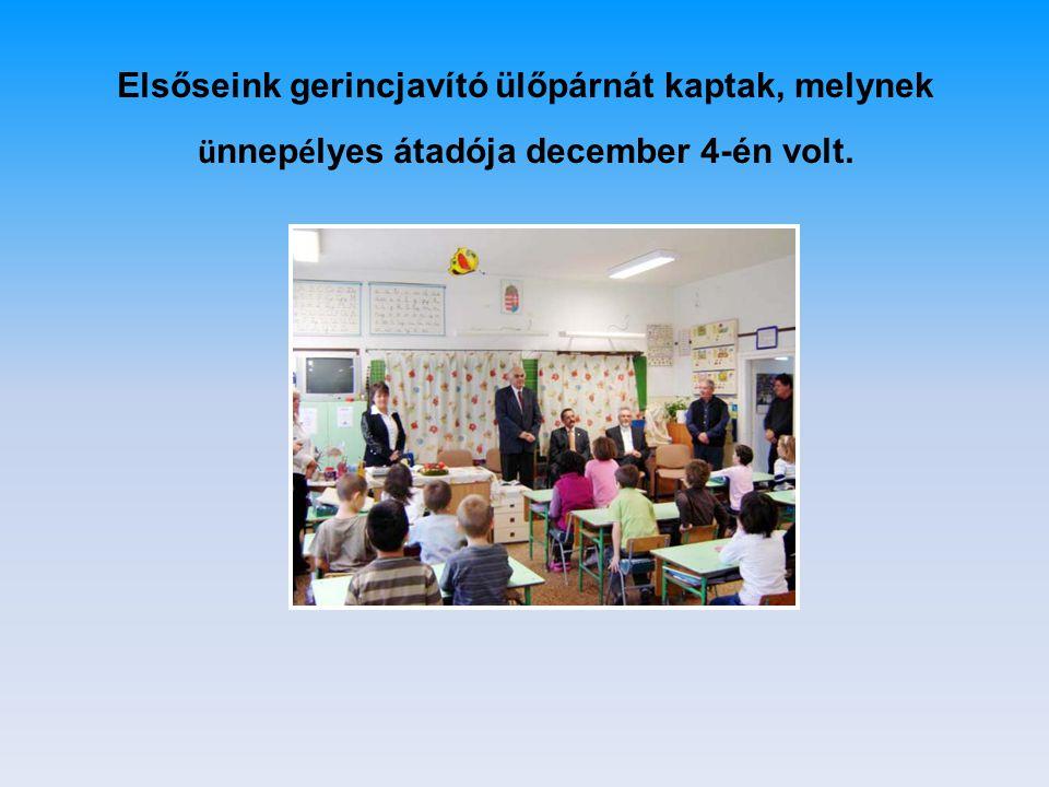 Elsőseink gerincjavító ülőpárnát kaptak, melynek ünnepélyes átadója december 4-én volt.