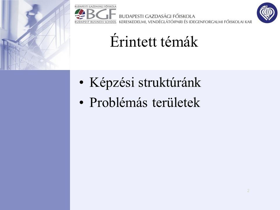Érintett témák Képzési struktúránk Problémás területek