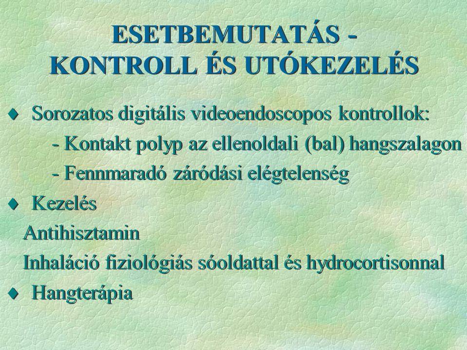 ESETBEMUTATÁS - KONTROLL ÉS UTÓKEZELÉS