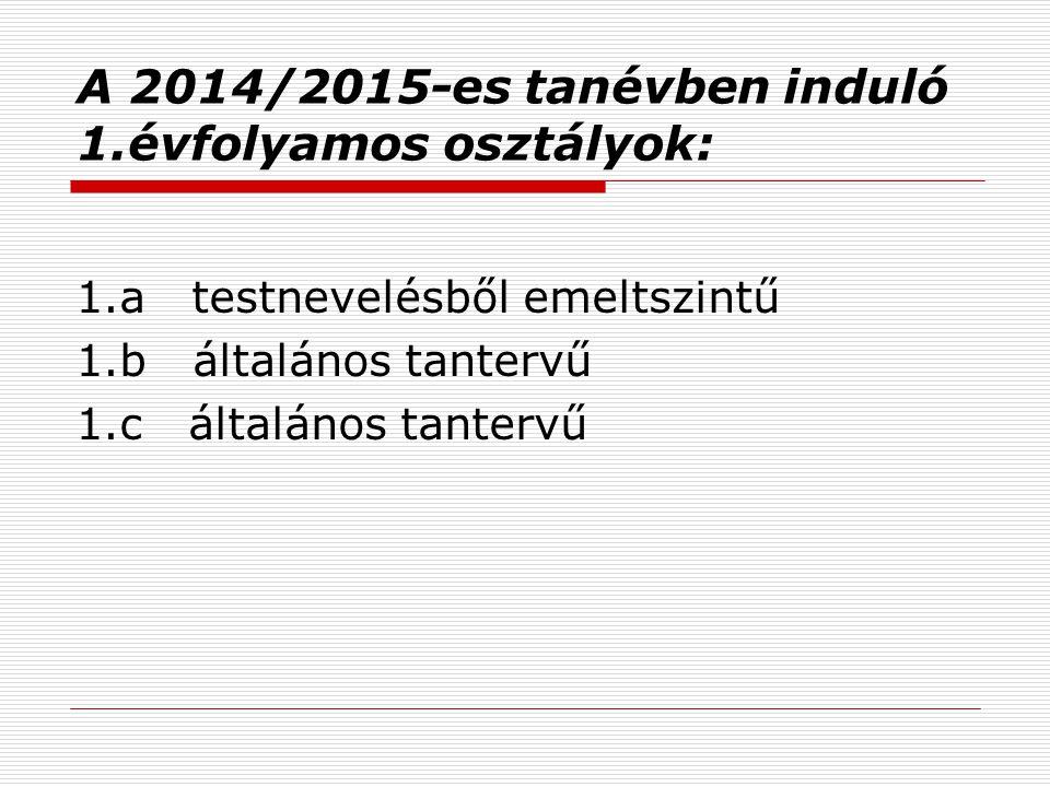 A 2014/2015-es tanévben induló 1.évfolyamos osztályok: