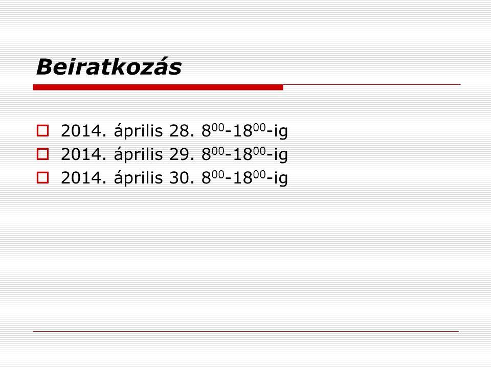 Beiratkozás 2014. április 28. 800-1800-ig