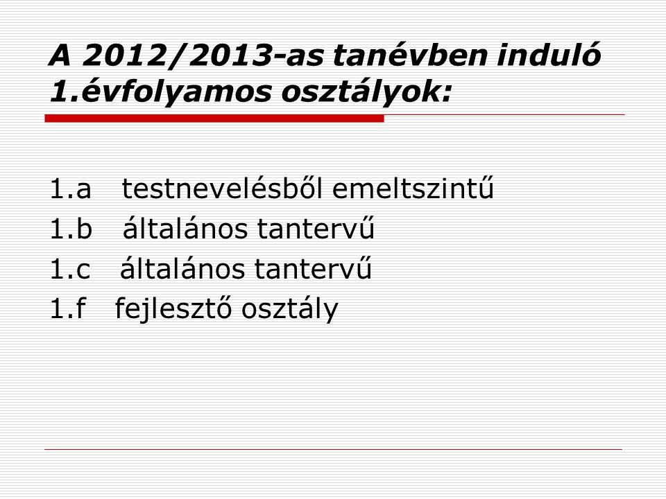 A 2012/2013-as tanévben induló 1.évfolyamos osztályok:
