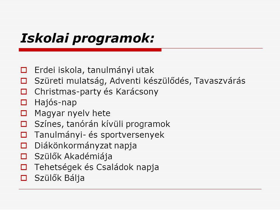 Iskolai programok: Erdei iskola, tanulmányi utak