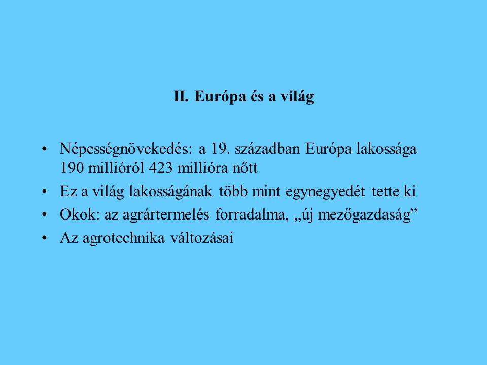 II. Európa és a világ Népességnövekedés: a 19. században Európa lakossága 190 millióról 423 millióra nőtt.