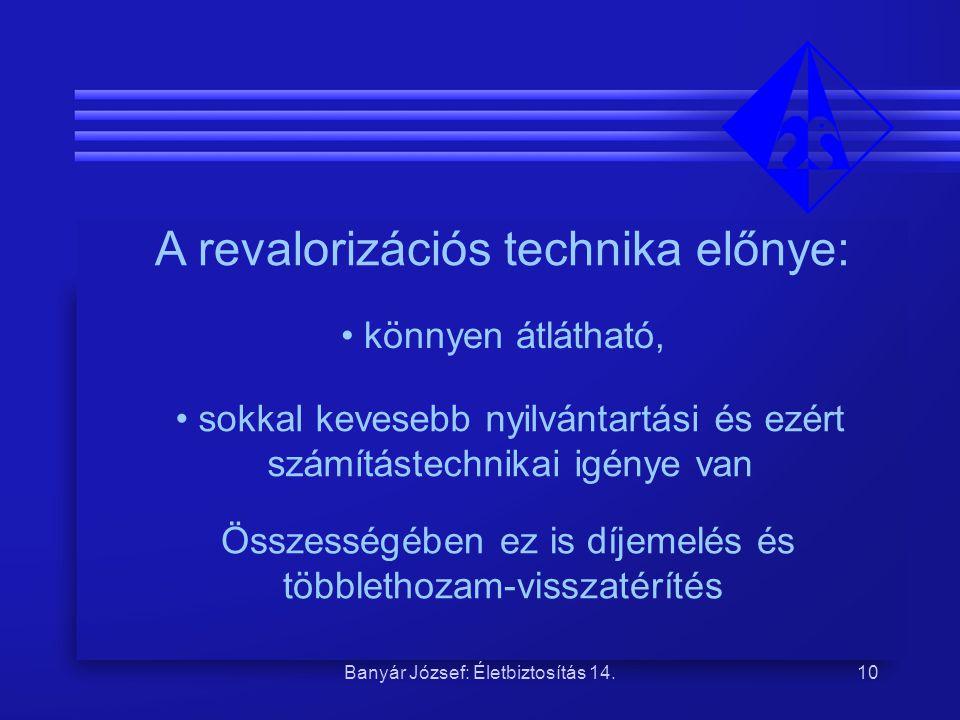 A revalorizációs technika előnye: