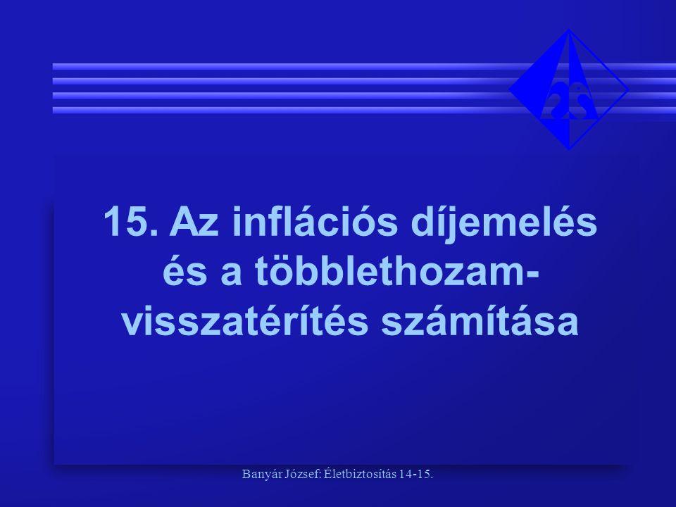15. Az inflációs díjemelés és a többlethozam-visszatérítés számítása