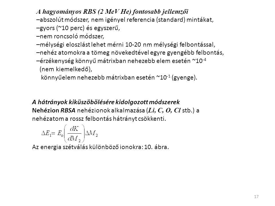 A hagyományos RBS (2 MeV He) fontosabb jellemzői