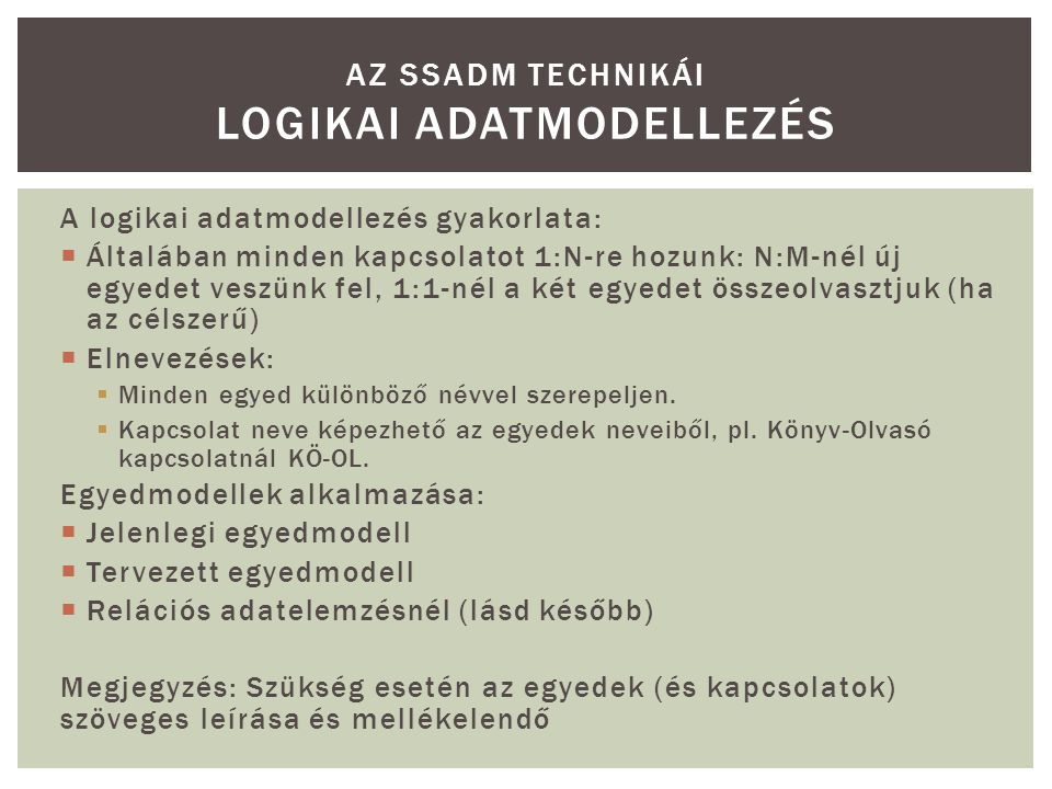Az SSADM technikái Logikai Adatmodellezés
