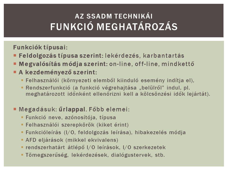 Az SSADM technikái Funkció meghatározás