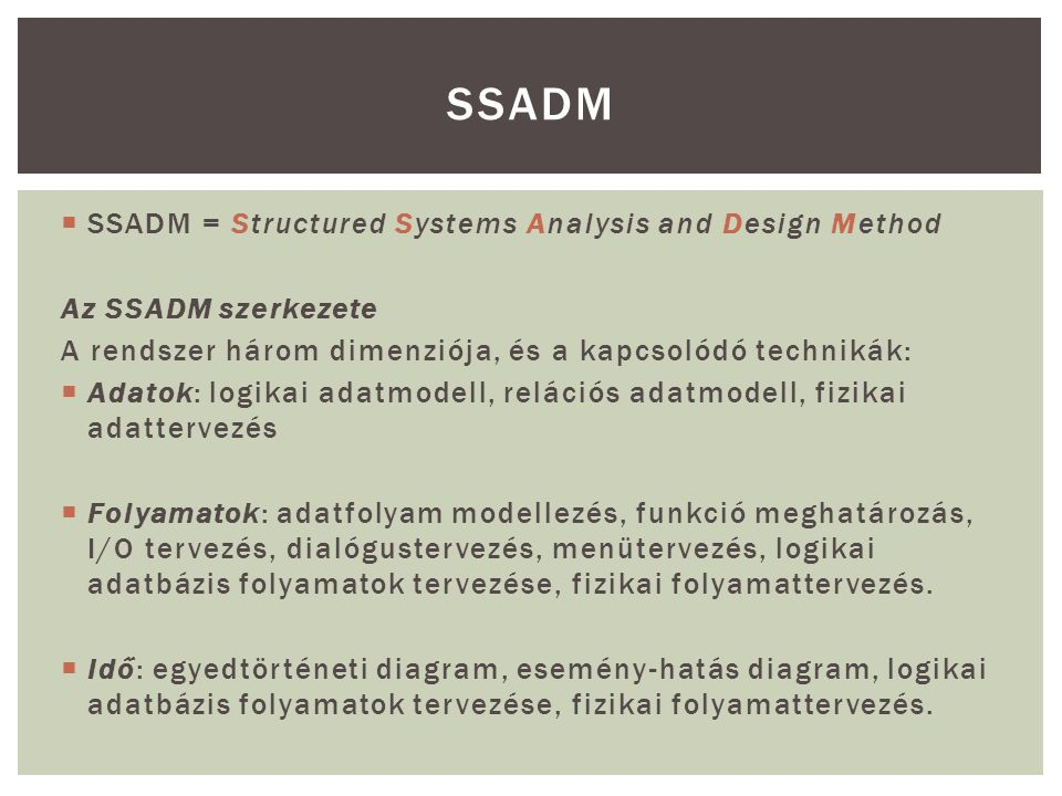SSADM SSADM = Structured Systems Analysis and Design Method