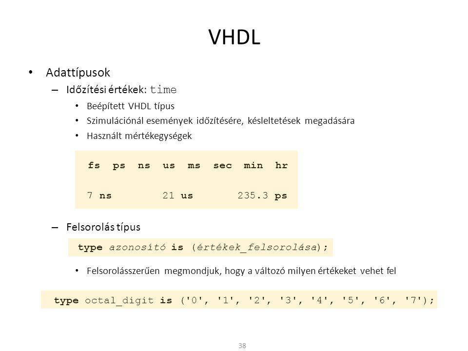 VHDL Adattípusok Időzítési értékek: time Felsorolás típus