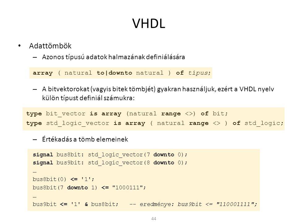 VHDL Adattömbök Azonos típusú adatok halmazának definiálására