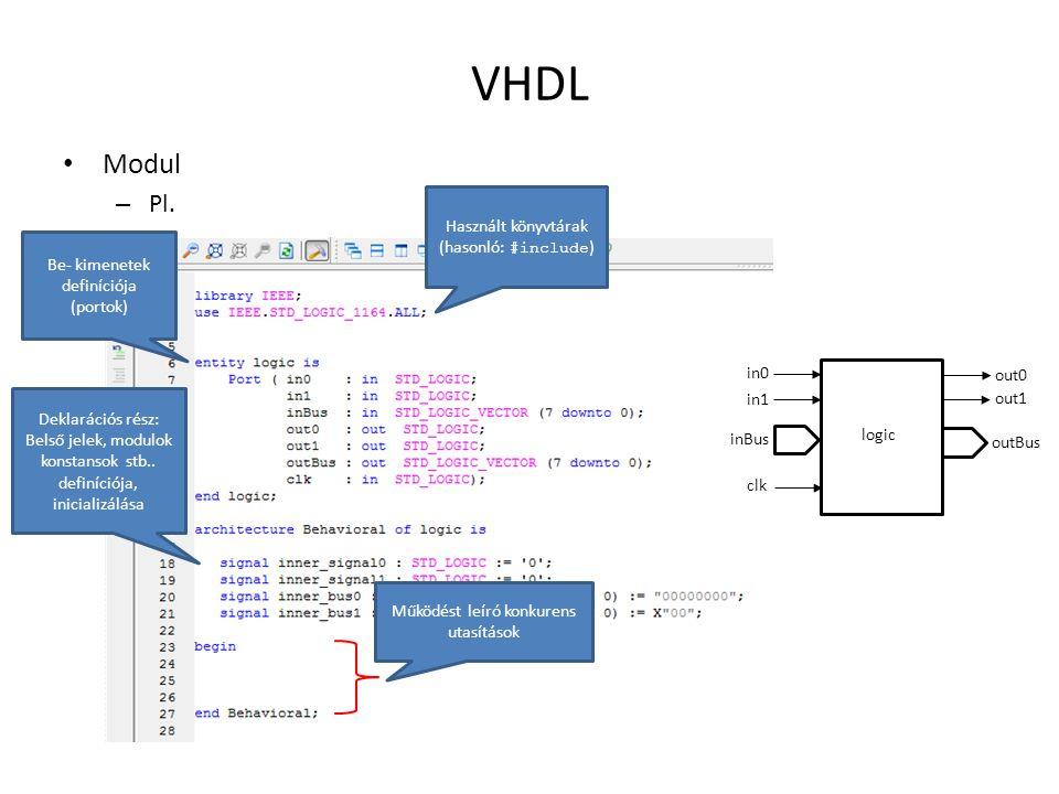 VHDL Modul Pl. Használt könyvtárak (hasonló: #include)