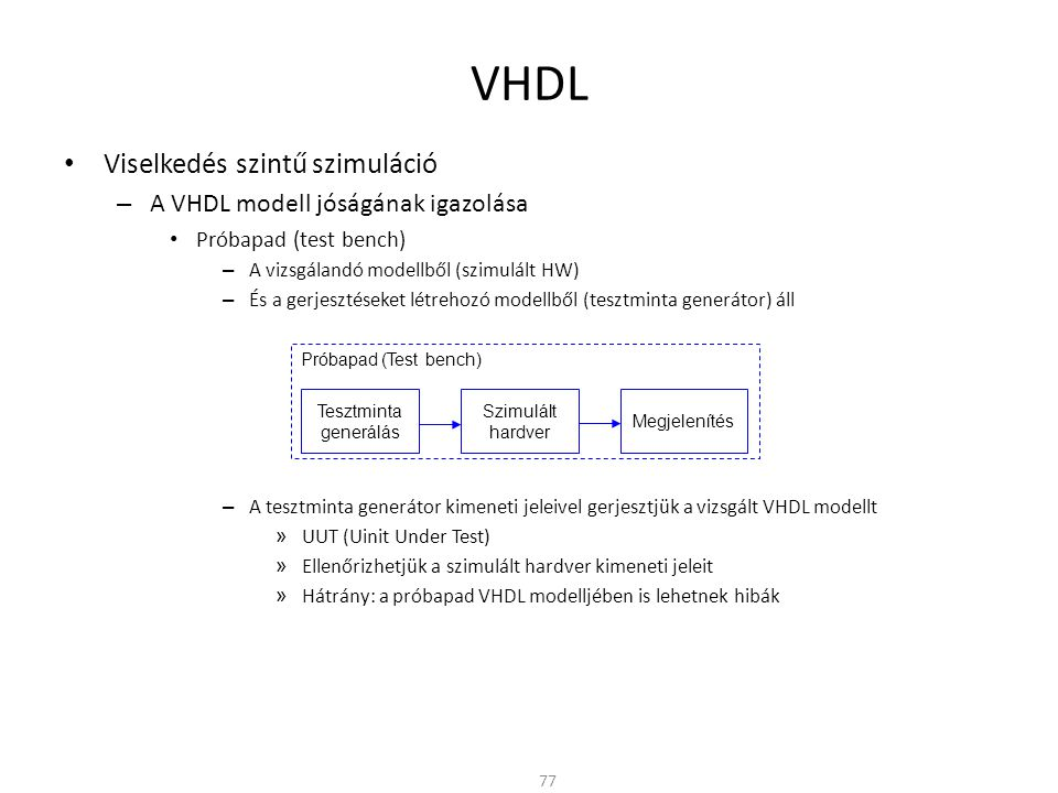VHDL Viselkedés szintű szimuláció A VHDL modell jóságának igazolása
